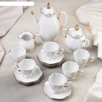 Сервиз кофейный «елена», 15 предметов: кофейник 800 мл, 6 чашек 110 мл, 6