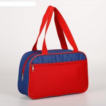 7922 п-600 сумка для обуви , 33*10*20, отд на молнии, н/карман, синий/крас