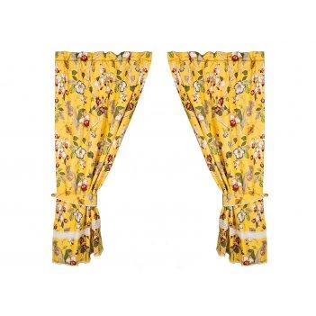 Комплект штор 2 шт с прихватами парадиз 100*180 см, 100% хлопок,желтые