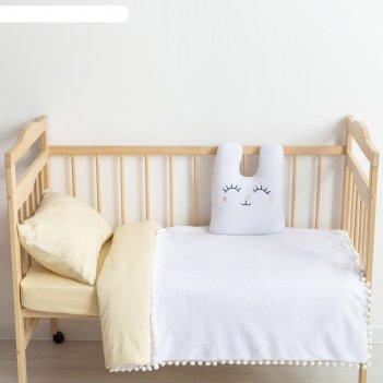 Плед-одеялко с бомбошками крошка я белый, р-р 110 х 90 см, 100% п/э, велсо