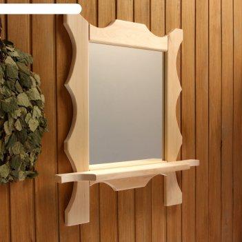 Зеркало резное с 1 полкой, 70x55x16 см