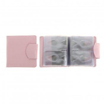 Кредитница, 2 ряда на 40 карточек, хлястик с кнопкой, розовая, наплак