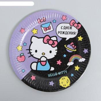 Тарелки бумажная hello kitty, с днем рождения!, набор 6 шт, 23 см