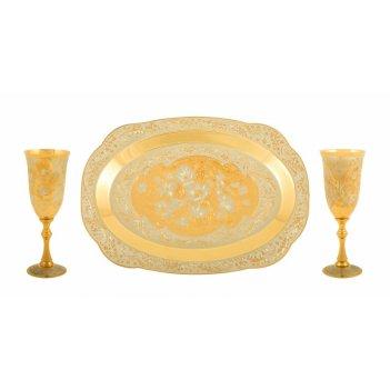 Набор винный романтика ( тарель, 2 фужера ) златоуст