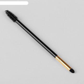 Кисть-щёточка для макияжа, двусторонняя, цвет чёрный