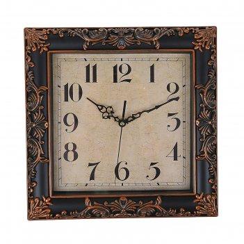 Часы интерьерные квадратные 30 см, черные, узор бронза