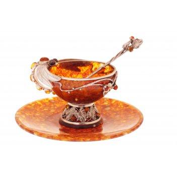 """Чайная чашка """"стрекоза"""" из янтаря с ложечкой (на 2 персоны)"""