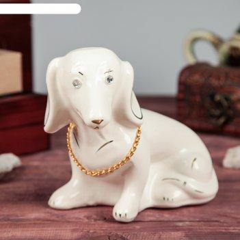 Фигура садовая собака такса, мини, цепочка, глянец, чёрный