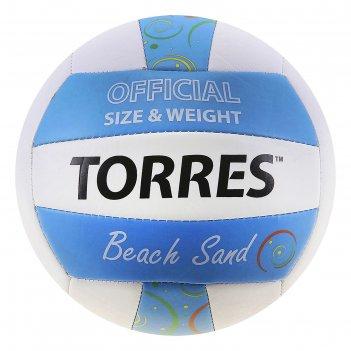 Мяч волейбольный torres beach sand blue, v30095b, размер 5, tpu, машинная