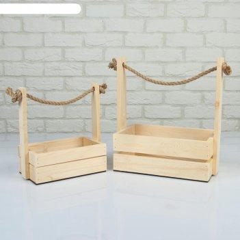 Набор кашпо деревянных 2 в 1 (25x15x30; 21x12x23 см) dear, ручка канат, со