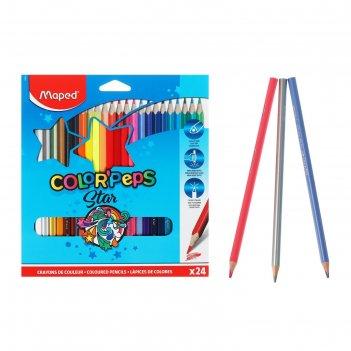 Карандаши трехгранные 24цв color peps