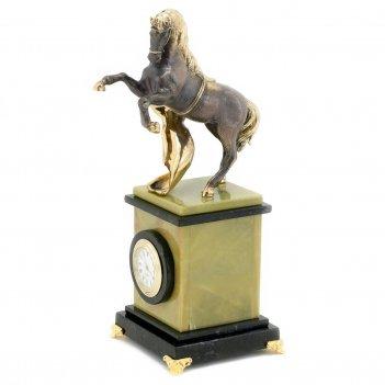 Часы конь с попоной камень змеевик офиокальцит