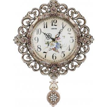 Часы настенные кварцевые с маятником 41,5*7*54 см. диаметр циферблата=22 с
