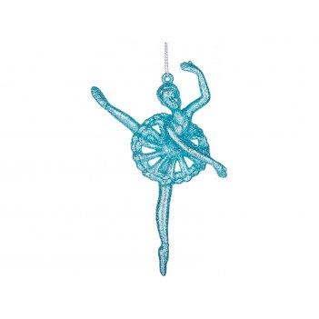 Декоративное изделие  балерина  13 см  цвет:бирюза с глиттером ((мал-24/ко