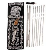 Набор для шашлыка орел (6 шампуров,мангал, нож) 58х20х3,5 см