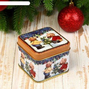 Шкатулка металл новогодняя квадрат медвежата наряжают ёлку 6х7,5х7,5 см