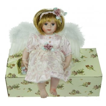 Кукла коллекционная ангелочек, фарфор 31см