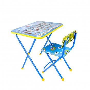 Набор детской мебели познайка. азбука складной: стол, стул мягкий моющийся
