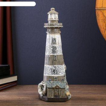 Сувенир полистоун маяк с зеркальной мозаикой и лачугой 28,5х10,5х12,5 см