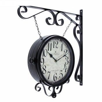 Часы настенные двойные, серия: садовые, капелька снизу, чёрные, d=24 см, 4