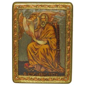 Подарочная икона святой апостол и евангелист матфей на мореном дубе