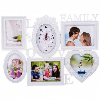 Фоторамка-коллаж с часами на 5 фото 10*15/15*13/18*13 см (кор=12шт.)