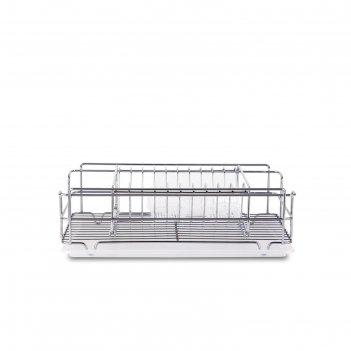 Сушилка для посуды и приборов, настольная, с поддоном, цвет хром, kb015