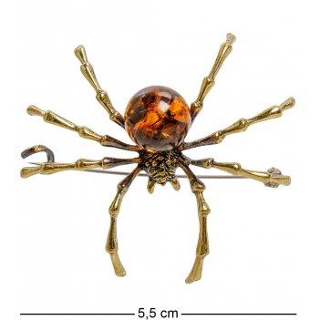 Am-2034 брошь паук степной (латунь, янтарь)