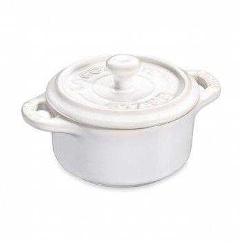 Кокот круглый, диаметр: 10 см, материал: керамика, цвет: белый, staub, фра