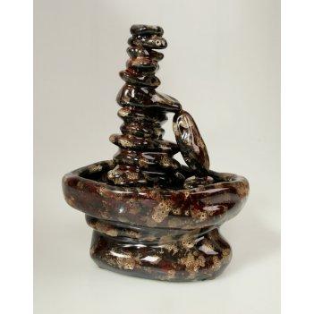 Настольный фонтан «сад камней» коричневый с эффектом