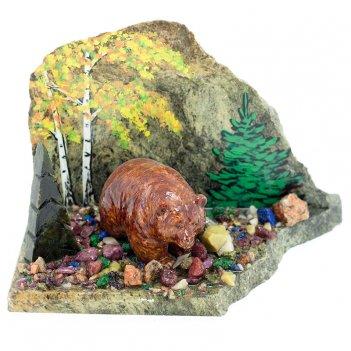 Сувенир мишка в лесу камень змеевик
