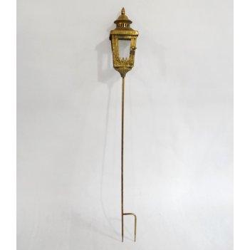 Фонарь садовый на ножке, под свечу,  золотая патина