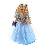 Кукла коллекционная любава в синем платье с бабочкой 42 см