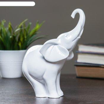 Фигура слон белый глянец 15х7х16см