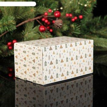 Коробка картонная на 2 капкейка в гостях у елочек, 16 х 10 х 8 см