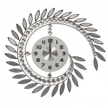 Часы настенные интерьерные вихрь из зеркальных листьев и страз
