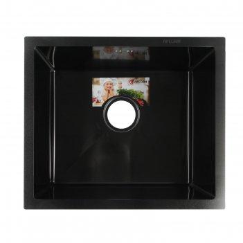 Мойка кухонная aflorn af95043f, врезная, s=3,0 и 0,8 мм, 50х43х20 см, сифо