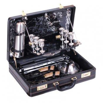 Набор подарочный «престиж» в чемодане (6 персон, черная кожа)