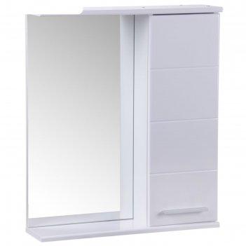 Зеркало-шкаф квадро, 600 х 154 х 700 мм, белый глянец