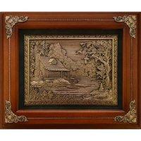 Деревянное панно домик охотника гальванопластика