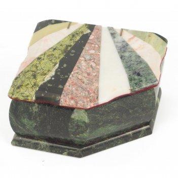 Шкатулка с мозаикой креноид змеевик офиокальцит мрамор 110х90х65 мм 760 гр