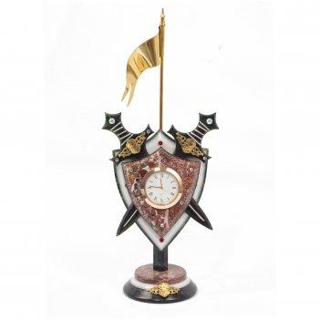 Часы щит с флагом змеевик мрамор креноид