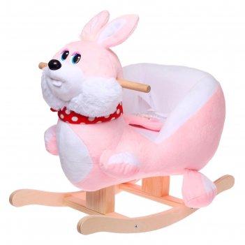 Качалка заюшка розовый, белый 681-2020