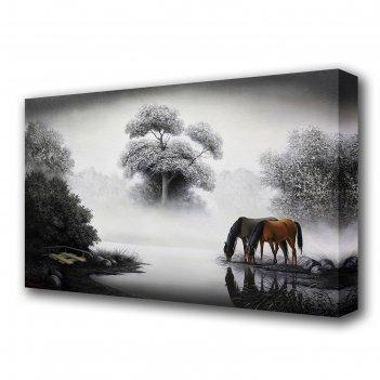Картина на холсте кони на водопое