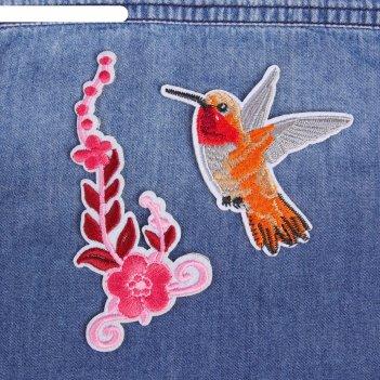 Набор термоаппликаций «колибри, цветок», 2 шт