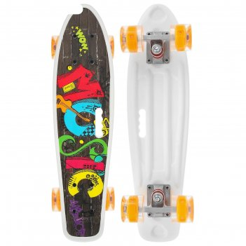 Скейтборд с ручкой 55 х 14 см, колеса световые pu 60 х 45 мм, abec 7, алюм
