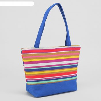 Сумка текстильная полоски, отдел на молнии, с подкладом, цвет синий