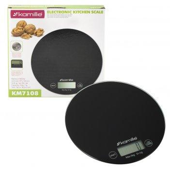 Весы электронные кухонные kamille km-7108 (круглые 18,5х18,5х2 см)