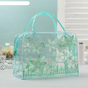 Косметичка-сумка банная пятилистник, 2 ручки, цвет зелёный