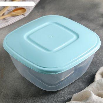 Контейнер пищевой 2 л с крышкой профессионал, квадратный, цвет микс